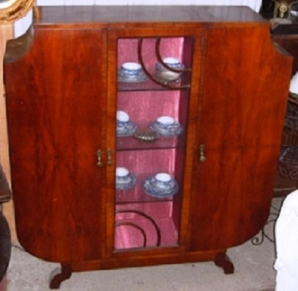 art deco vitrine englische vitrine nu baum furniert um 1920 antik m bel antiquit ten alling. Black Bedroom Furniture Sets. Home Design Ideas
