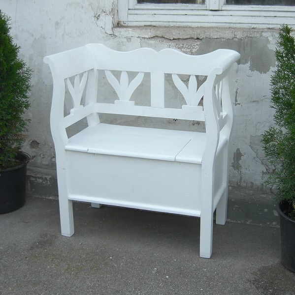 shabby chic bauernbank gartenbank fichte weiss truhenbank. Black Bedroom Furniture Sets. Home Design Ideas