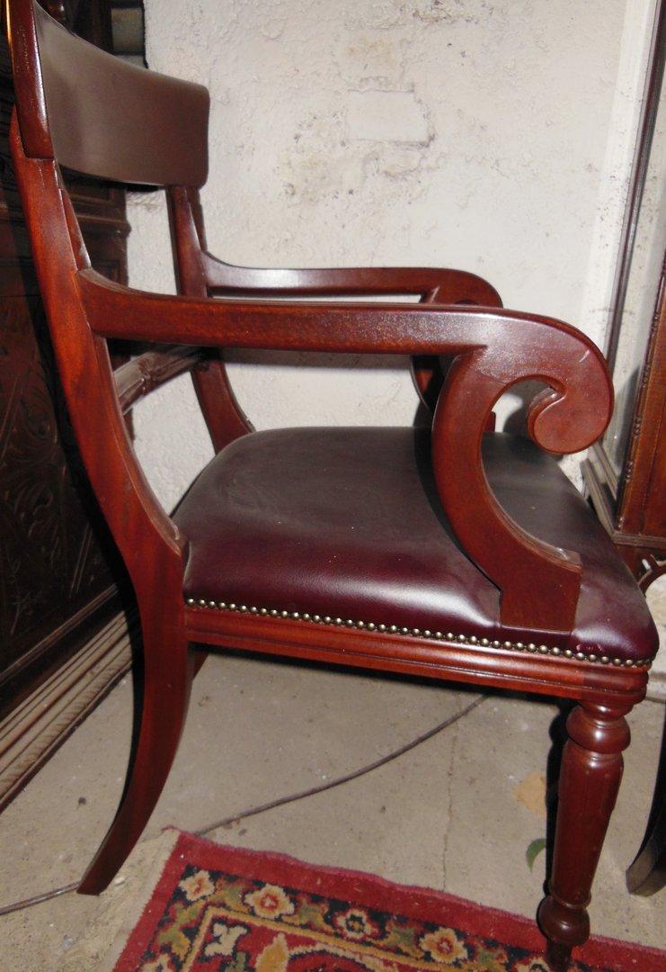 englischer armlehnstuhl mahagoni victorian style mit r tlichem leder bezogen antik m bel. Black Bedroom Furniture Sets. Home Design Ideas