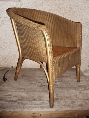geflochtener lloyd loom sessel goldfarben antik m bel. Black Bedroom Furniture Sets. Home Design Ideas