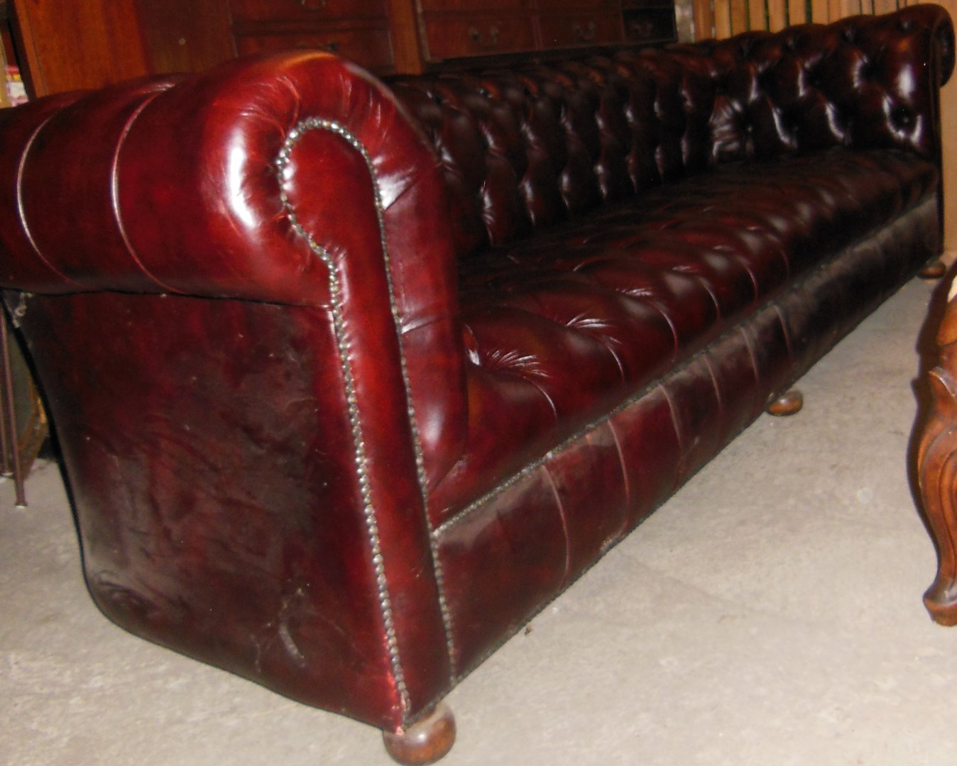 Chesterfield sofa gebraucht  Chesterfield-Couch 4-Sitzer weinrot - Antik Möbel Antiquitäten ...