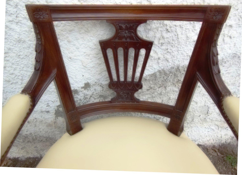 Schreibtischstuhl antik  Orginal Englischer Schreibtisch-Stuhl mit Leder Victorian um 1890 ...