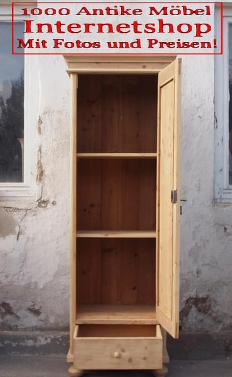 alter antiker bauernschrank schmaler schrank besenschrank mit schublade schrank aus massiver. Black Bedroom Furniture Sets. Home Design Ideas