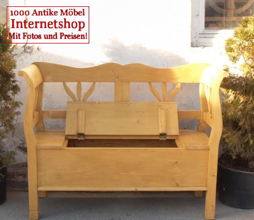 119 cm truhenbank weicholz sitzbank holzbank bauernbank bank aus massiver fichte antik m bel. Black Bedroom Furniture Sets. Home Design Ideas
