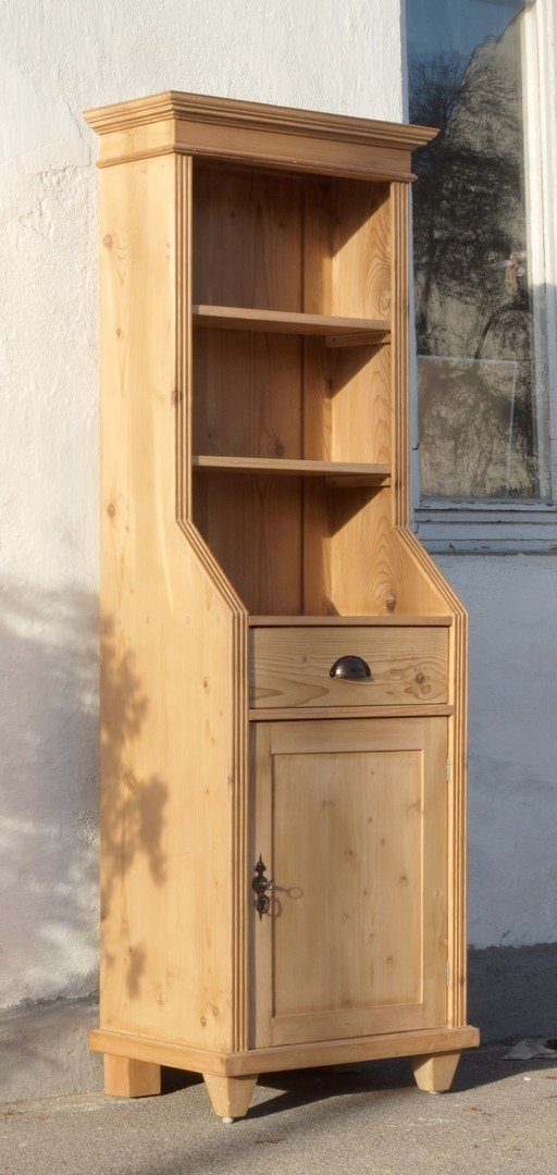 0 pre 64 cm langes bauernregal b cherregal mit schubladen t re nachbau aus altem holz antik. Black Bedroom Furniture Sets. Home Design Ideas