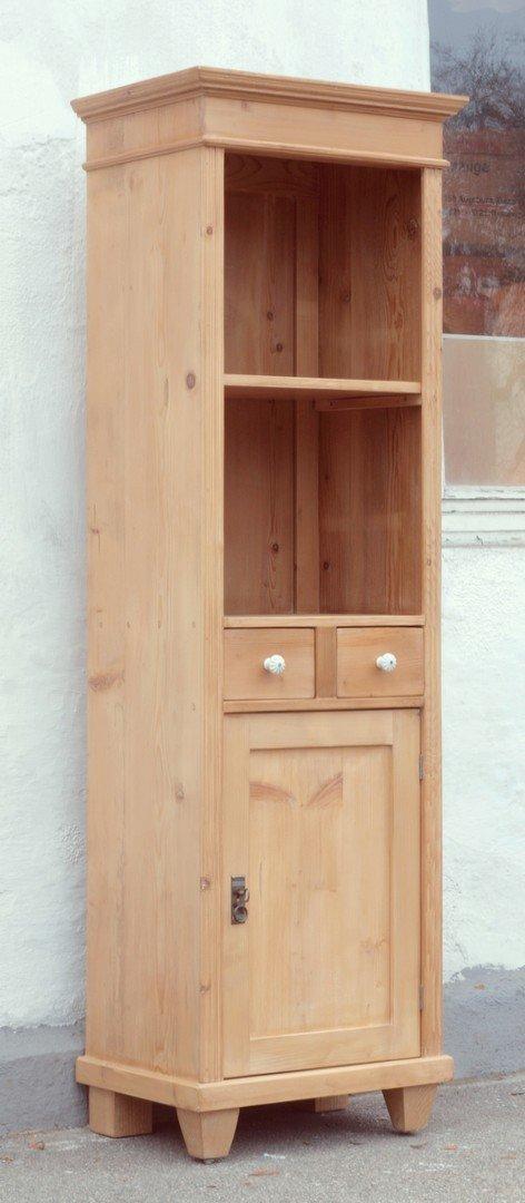 schmales bauernregal b cherregal mit 2 schubladen und 1. Black Bedroom Furniture Sets. Home Design Ideas
