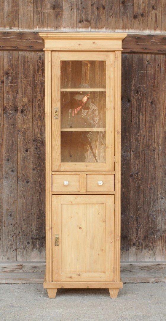 pvi2s2t178 schmale vitrine mit 2 schubladen fichtenholz bauernm bel nachbau neuanfertigung. Black Bedroom Furniture Sets. Home Design Ideas