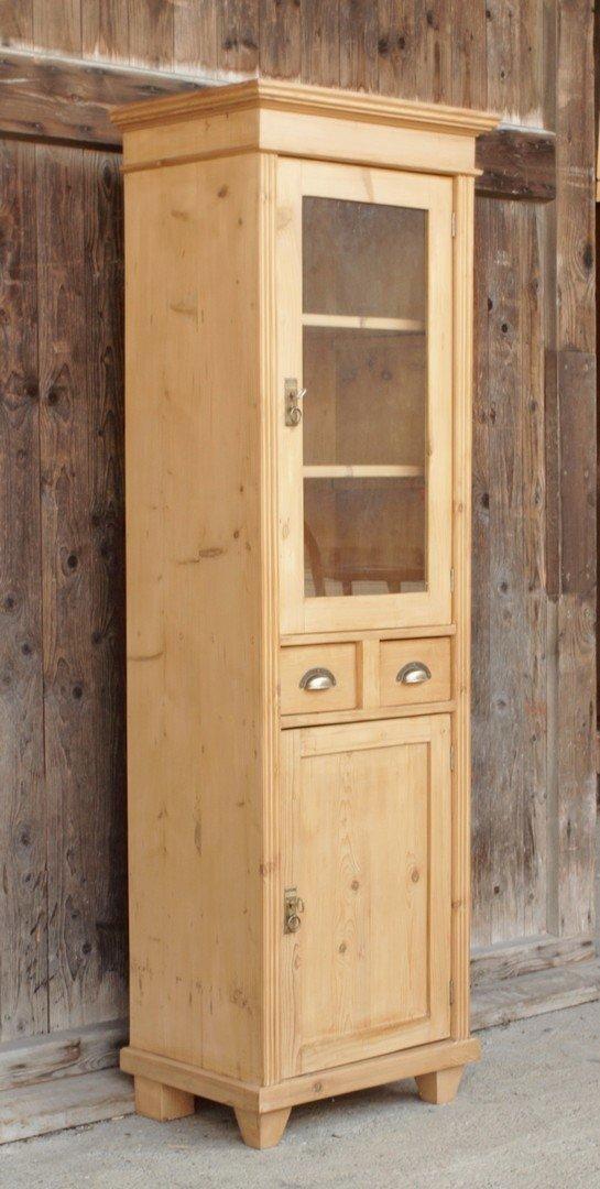 schmale vitrine gr nderzeitstil fichtenholz bauernm bel nachbau neuanfertigung antik m bel. Black Bedroom Furniture Sets. Home Design Ideas
