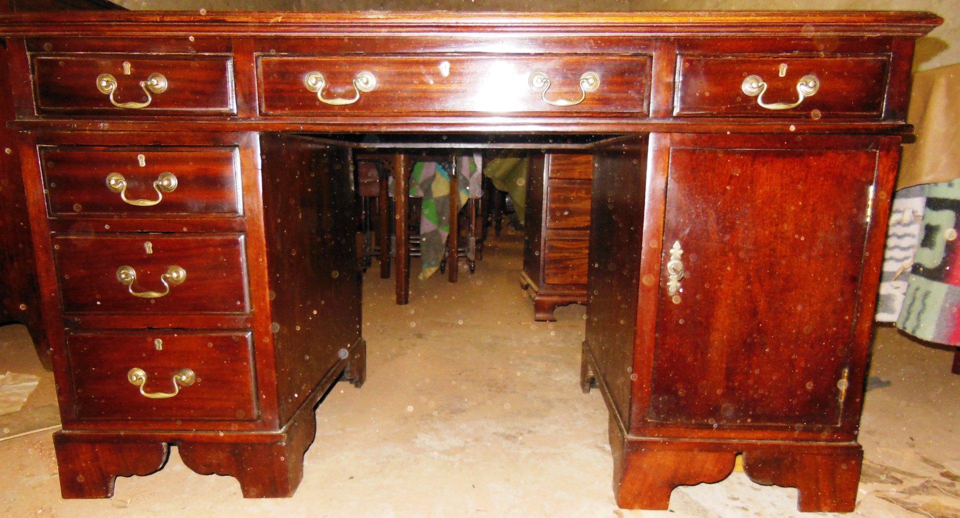 Mahagoni Schreibtisch Pedestale Englischer Jugendstil Schreibtisch
