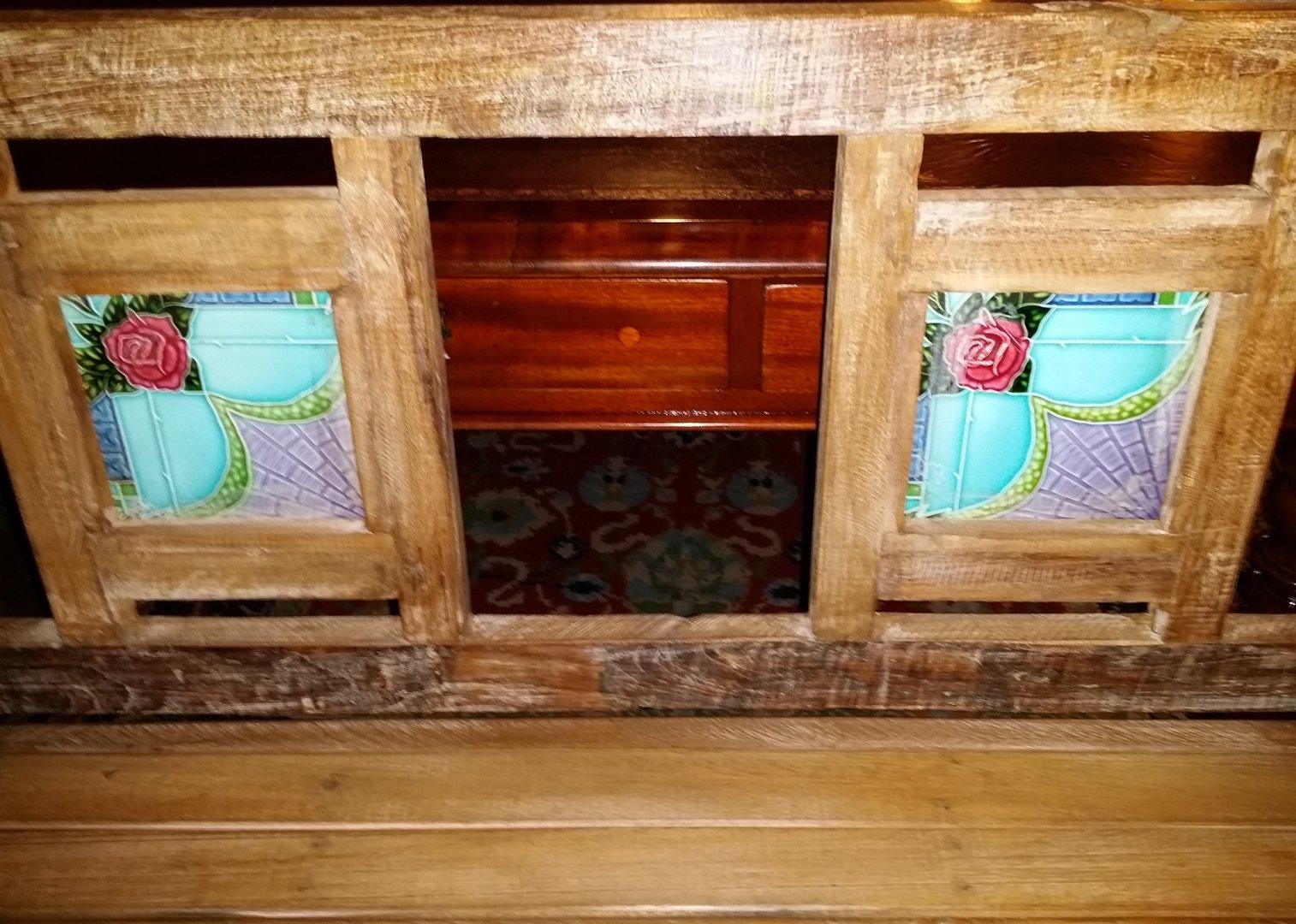 alte indische teakholzbank mit kacheln antik m bel antiquit ten alling bei m nchen zwischen. Black Bedroom Furniture Sets. Home Design Ideas