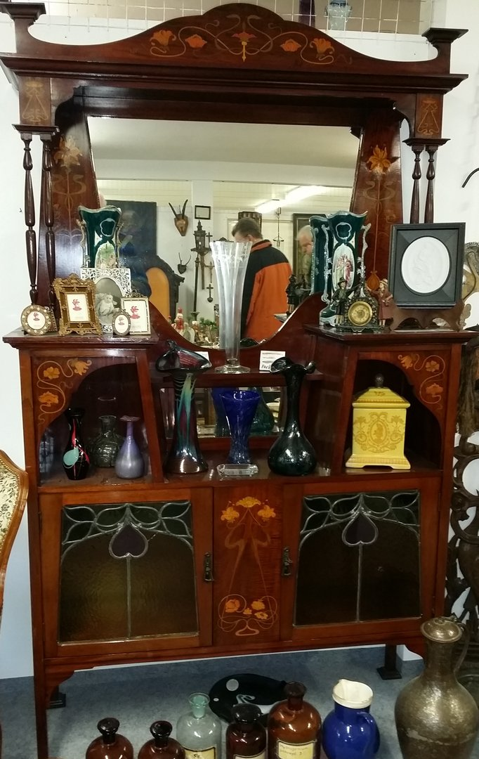 jugendstil anrichte k chenschrank geschirrschrank englische anrichte buffet mit aufsatz um 1900. Black Bedroom Furniture Sets. Home Design Ideas