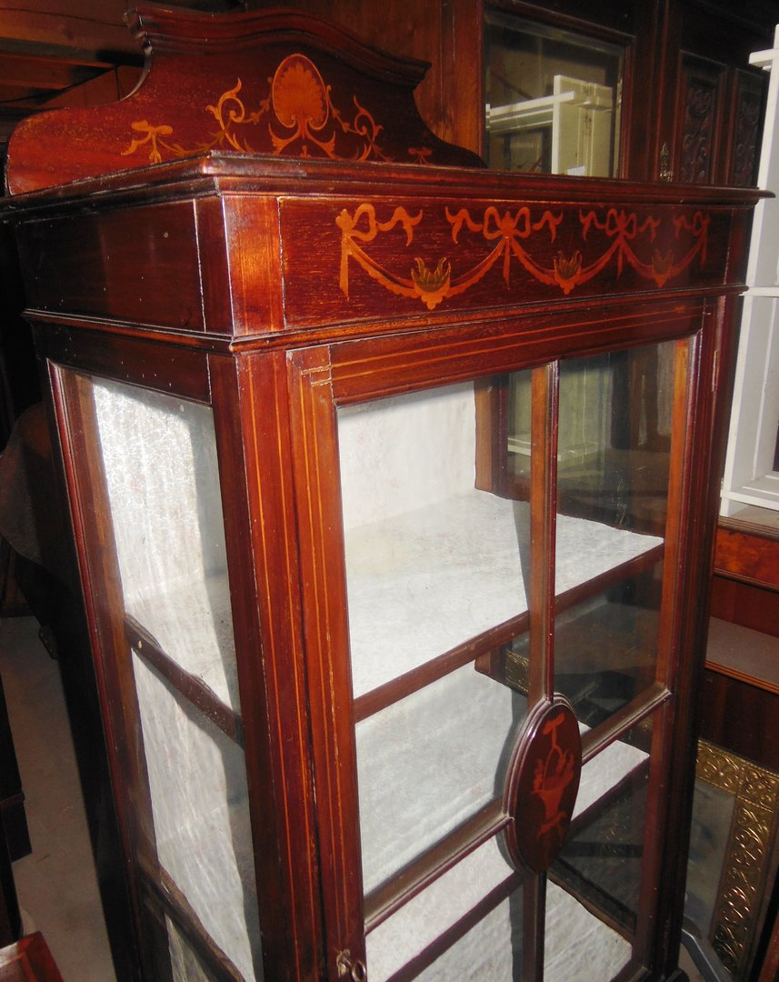 jugendstil vitrine mahagoni intarsiert englisch um 1900 10 antik m bel antiquit ten alling bei. Black Bedroom Furniture Sets. Home Design Ideas