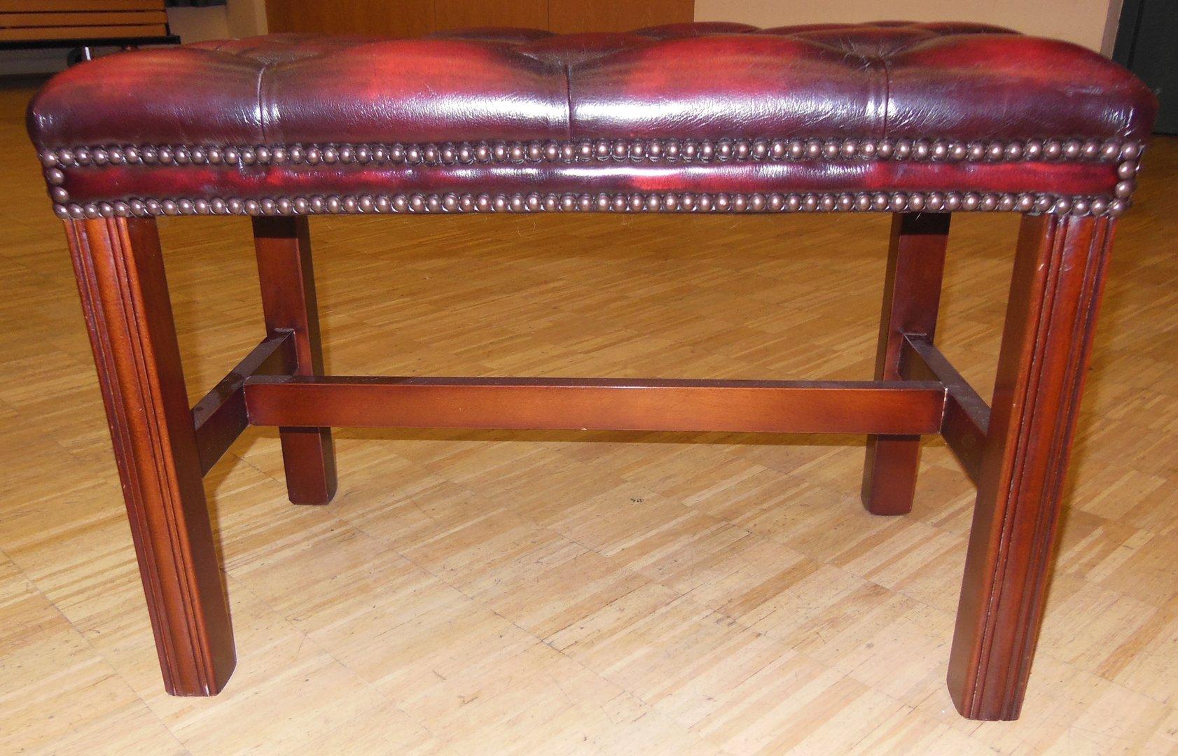 roter leder fu hocker englischer lederhocker weinroter lederhocker antik m bel antiquit ten. Black Bedroom Furniture Sets. Home Design Ideas
