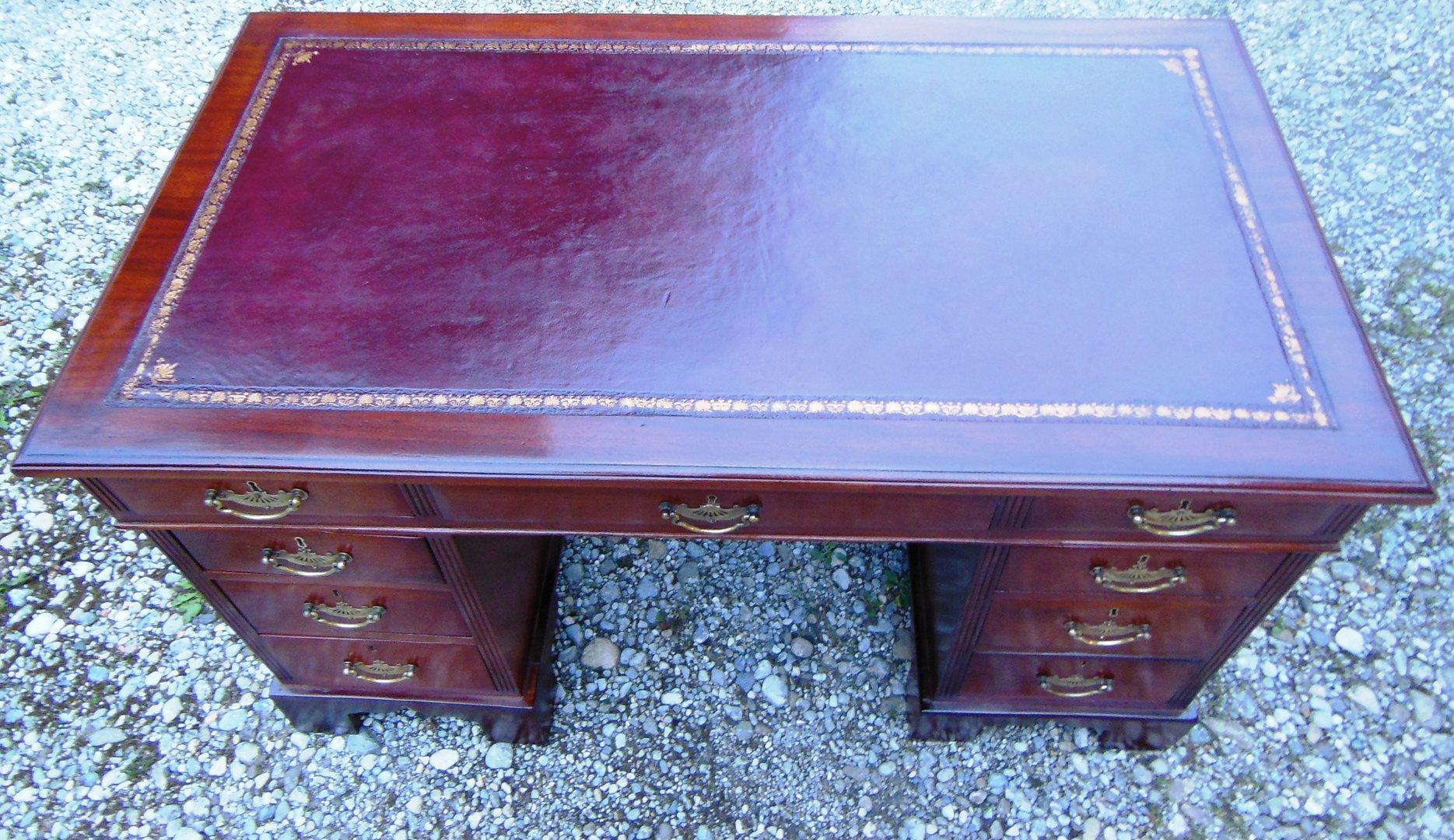 Mahagoni-Jugendstil-Schreibtisch um 1900/10 Massivholz-Schreibtisch ...