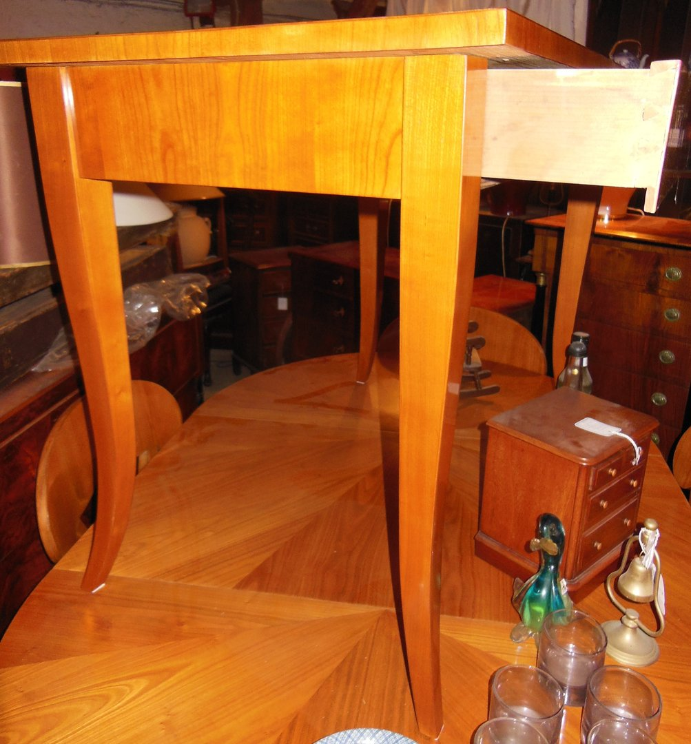 Orginaler biedermeier esstisch schreibtisch mit schublade for Schreibtisch kirschholz