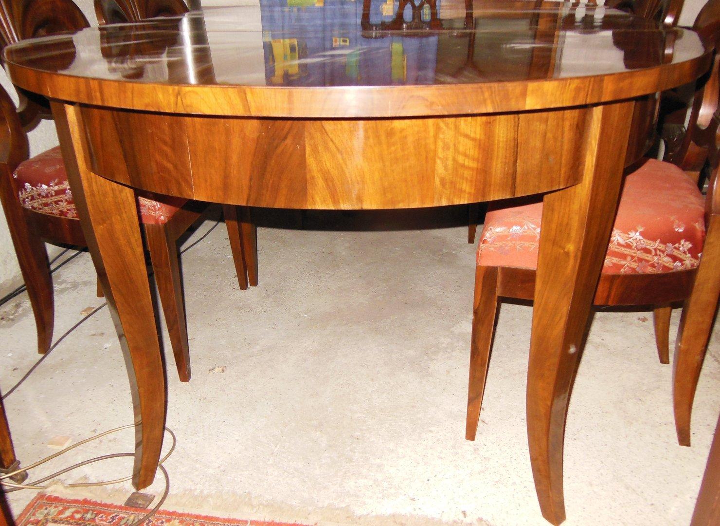 biedermeier art tisch nussbaumwurzelfurniert beste qualit t mit 2 einlegeplatten antik m bel. Black Bedroom Furniture Sets. Home Design Ideas