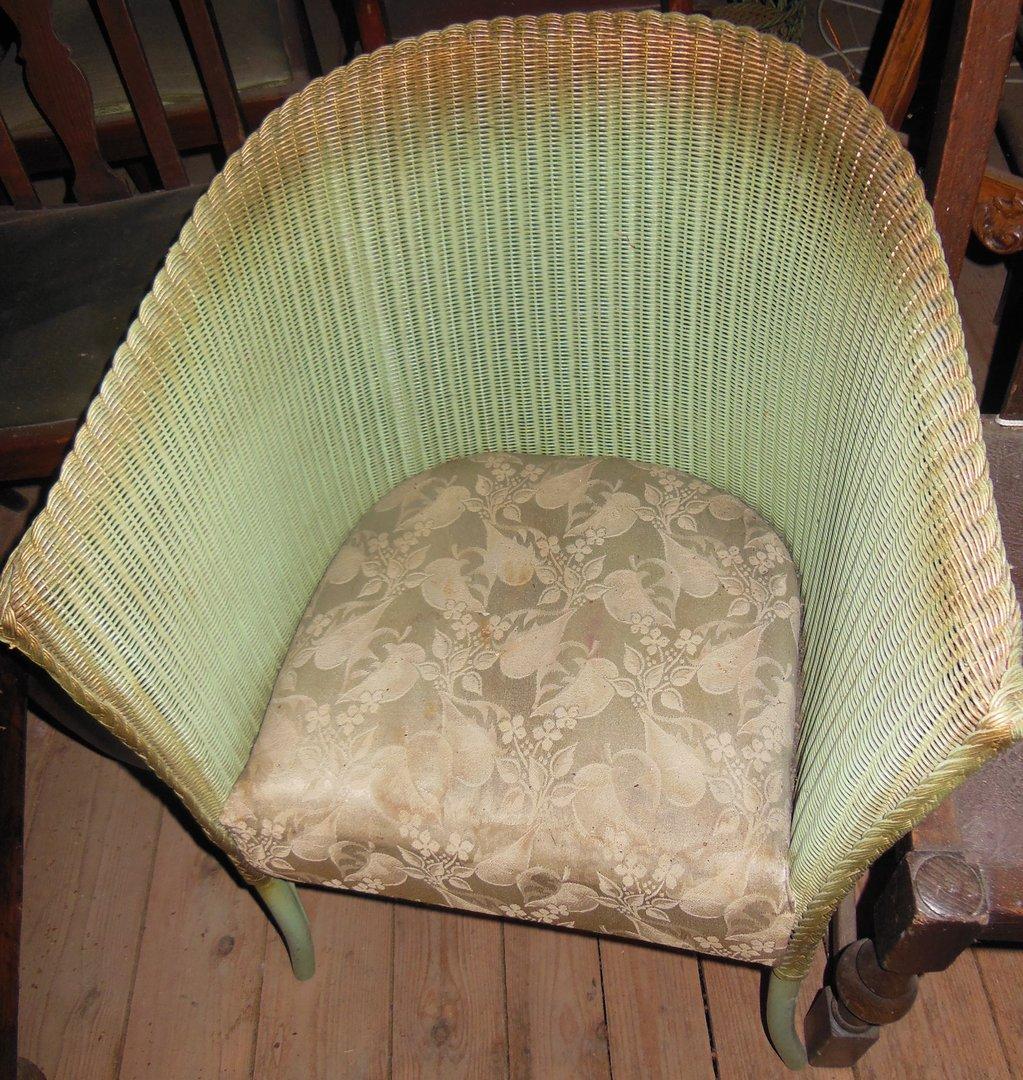 Lloyd Loom Sessel Grün Mit Goldrand Antike Möbel Und Beschläge