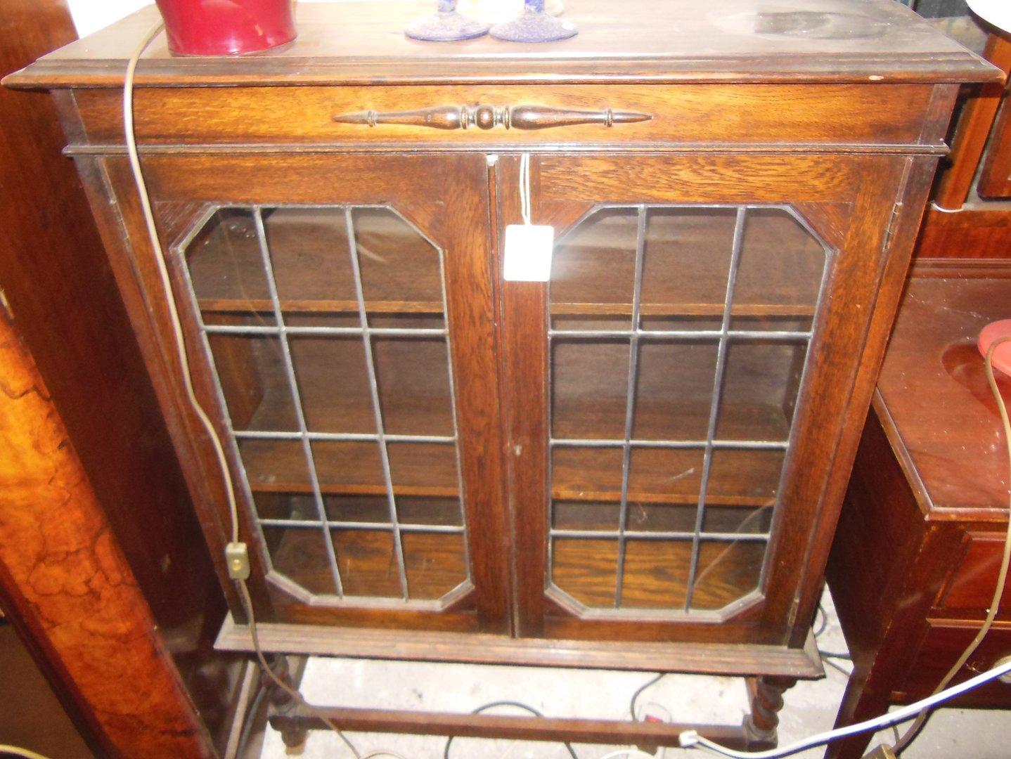 b cherschrank eiche um 1920 eichen b cherschrank mit. Black Bedroom Furniture Sets. Home Design Ideas