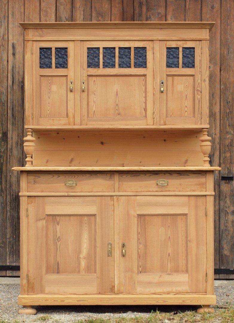 Altes antikes Bauernbuffet restaurierter Küchenschrank Massivholz ...