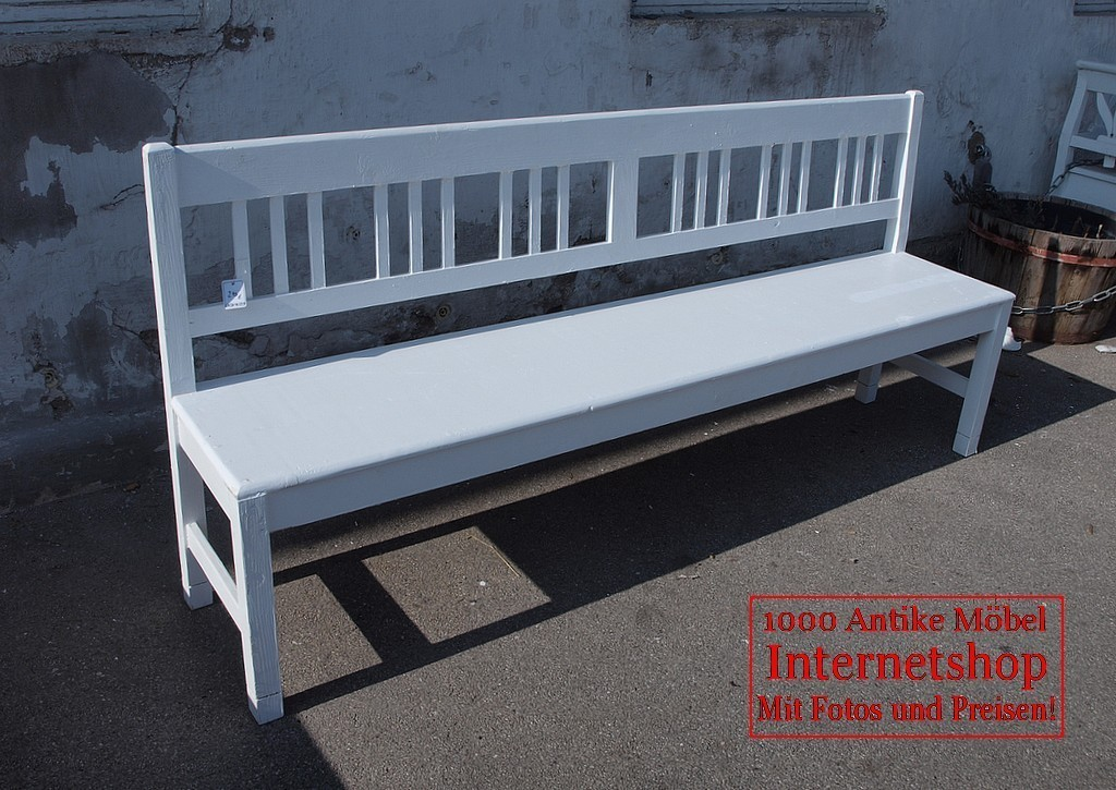 200cm wei e shabby chic bank gartenbank fichte sitzbank antik m bel antiquit ten alling bei. Black Bedroom Furniture Sets. Home Design Ideas