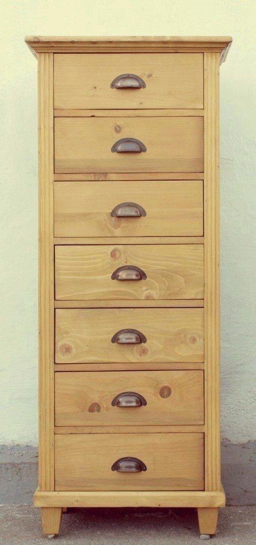 Kommode schmal antik  Massivholz Hochkommode mit 7 Schubladen Fichte - große Auswahl !