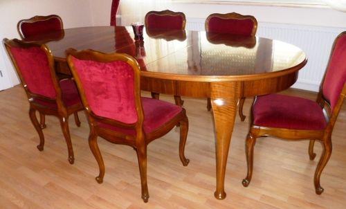 Grosser Chippendale Esstisch Mit 3 Einlegplatten Nussbaum Esstisch Um  1920/30 Und 6 Stühle