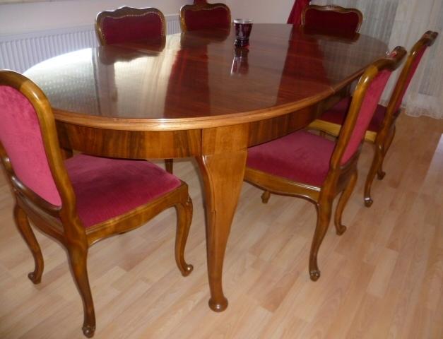 grosser chippendale esstisch mit 3 einlegplatten nussbaum esstisch um 1920 30 und 6 st hle. Black Bedroom Furniture Sets. Home Design Ideas