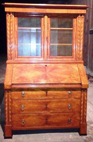 biedermeier aufsatz sekretar kirschholzfurniert um 1840 50