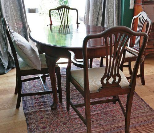 Englischer Chippendale Esstisch Bzw. Tischgruppe Mahagoni Incl. 4 Mahagoni  Stühlen Komplettpreis