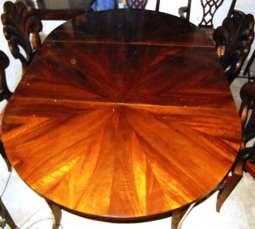 Biedermeier Art Tisch Nussbaumwurzelfurniert Beste Qualität Mit 2  Einlegeplatten