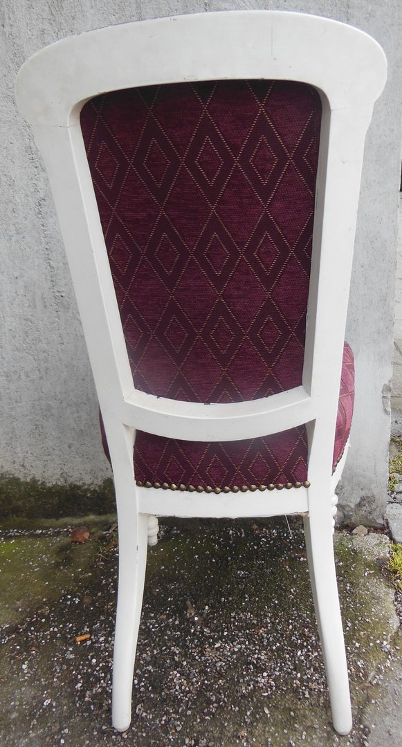 shabby chic stuhl weisser stuhl massivholz stuhl frisch gepolstert antike m bel und beschl ge. Black Bedroom Furniture Sets. Home Design Ideas